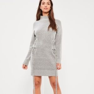 Missguided Lace Up Slouchy Midi Dress NEW C5-22